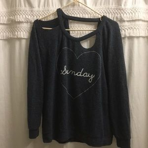 "Cut out ""Sunday"" fuzzy sweater"